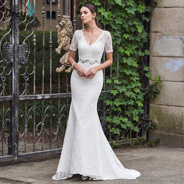 b5ae8bbba Dressv الخامس الرقبة الديكور الرباط حورية البحر فستان الزفاف رخيصة العاج  قصيرة الأكمام قطار المحكمة في