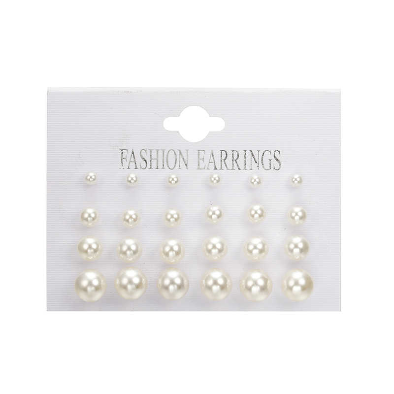 Hot Sale Trendy Korean Cute Black Ball Stud Earrings Set White Simulated Pearl Earring for Women Jewelry Oorbellen Brinco Bijoux