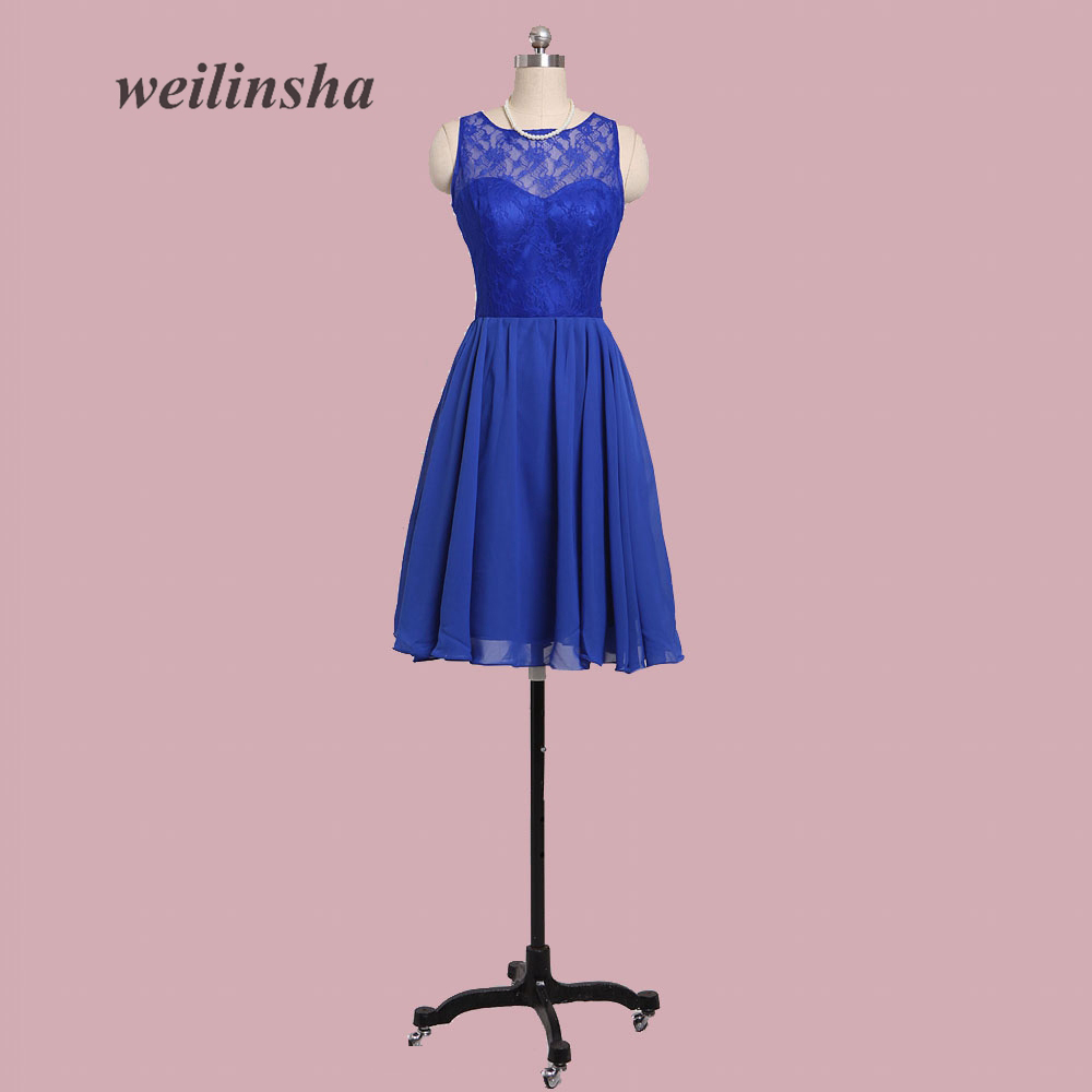 weilinsha Short A-line Chiffon   Bridesmaid     Dresses   Short   Dresses   for Wedding Party Gowns with Bow Lace Blue   Dresses