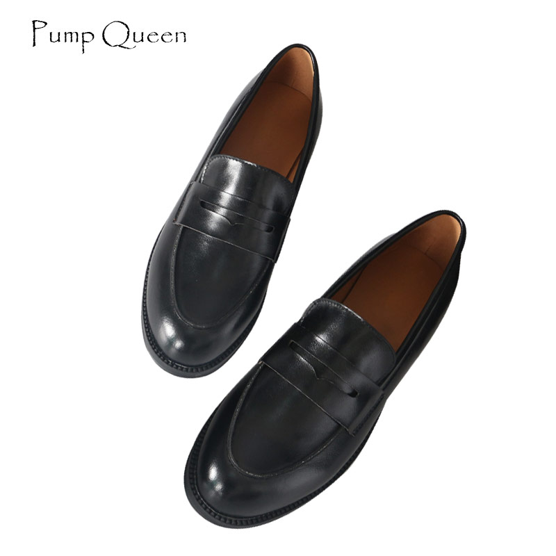 PumpQueen Women Loafers Shoes Casual Slip on Fats Round Toe Shoes Woman Black Yellow Female Vintage Shoes Zapatos Mujer Size 40 aphixta loafers women flats heel shoes warm fur winter round toe female ladies casual slip on zapatos de mujer shoes plus size