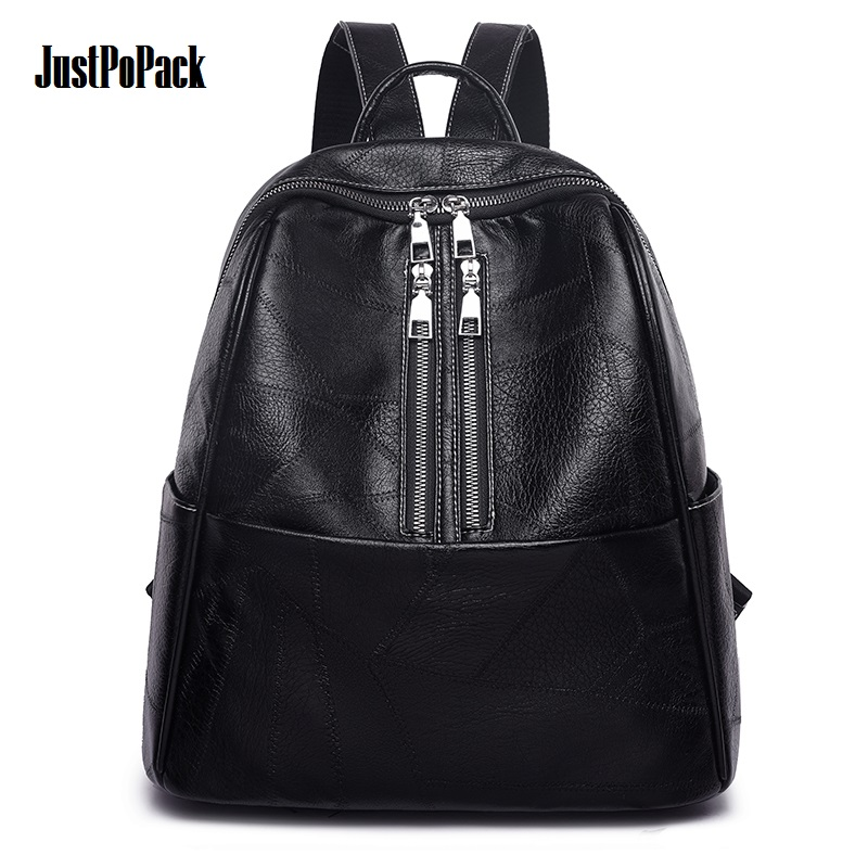 Female PU Leather Small Backpack Waterproof Headset hole Anti theft Black Wrinkle Patchwork Knapsack Double row zipper Bag Retro