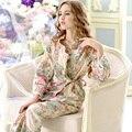 Promoción Pijamas Pijama Nuevo 2017 Mujeres Conjuntos de Pijamas 100% Algodón Ropa de Dormir Conjunto de Salón de Manga Larga Floral Ocio Homewear 9643
