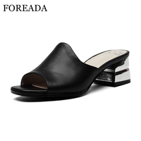 FOREADA Summer Genuine Leather Shoes Women Sandals Mid Chunky Heel Slippers Ladies Slides Peep Toe Mules Shoes Large Size 34 41