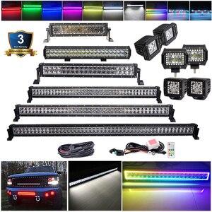 3, 4, 14, 20, 22, 32, 42, 50, 52 дюйма, RGB, светодиодный световой бар, для внедорожных работ, много цветов, для джипа, лодки, автомобиля, грузовика, 4x4 SUV ATV