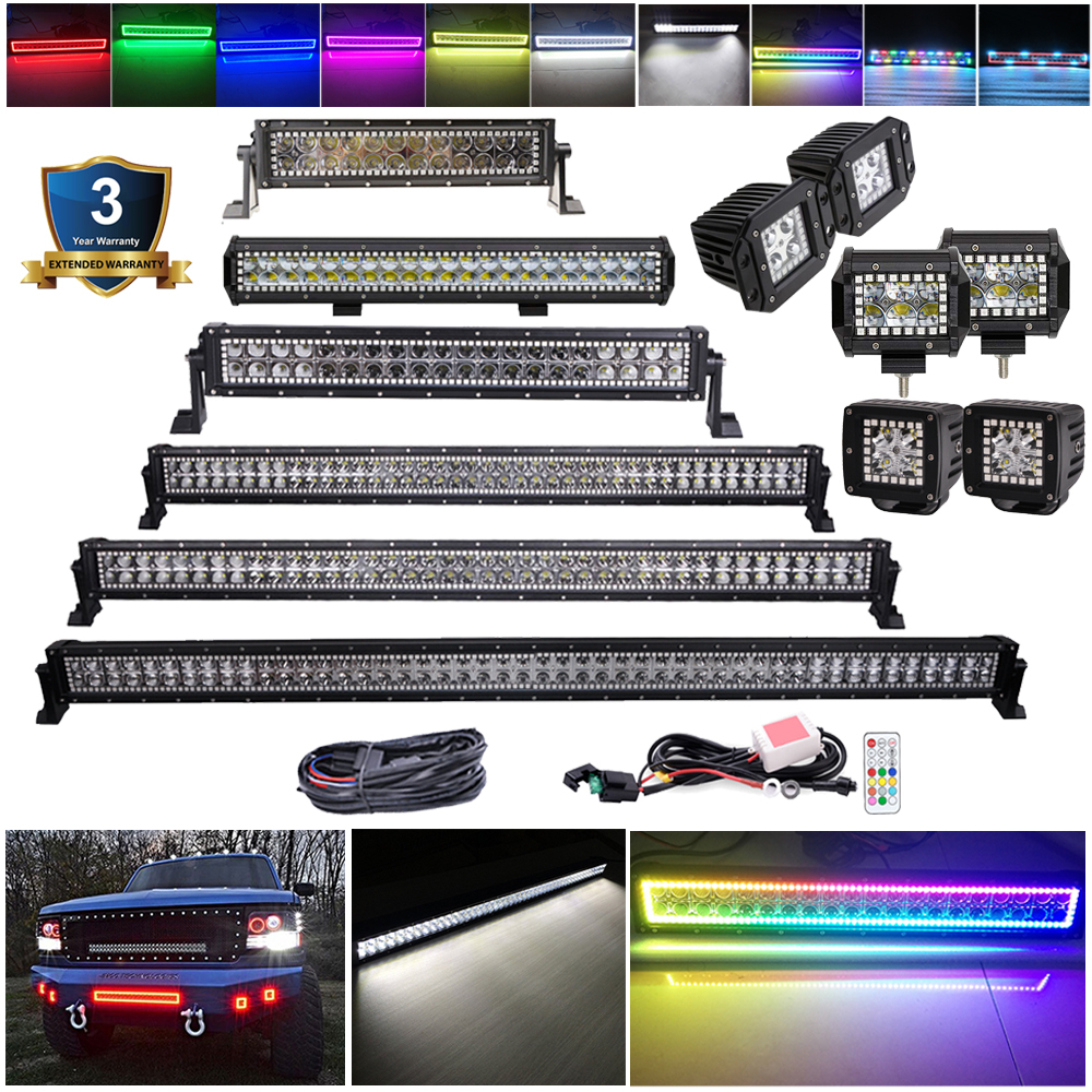 3 4 14 20 22 32 42 50 52 Inch RGB Chasing Halo Led Light Bar Offroad Work Light Multi Color For Jeep Boat Car Truck 4x4 SUV ATV