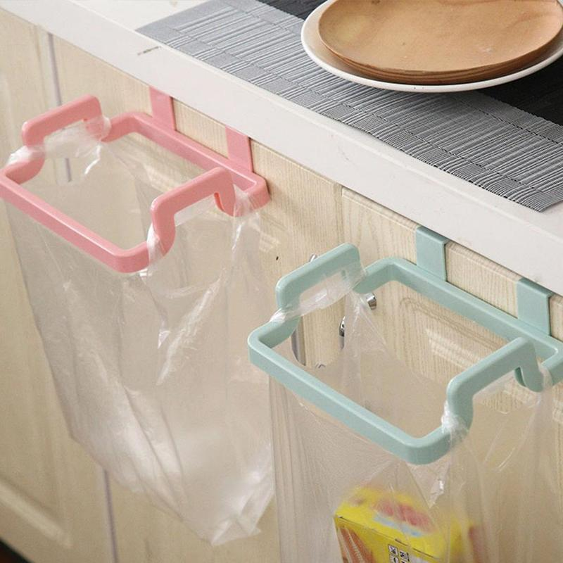 1PC Hot Creative  Foldable Hanging Cupboard Cabinet Storage Hanger Trash Rubbish Bag Holder Garbage Rack For Kitchen