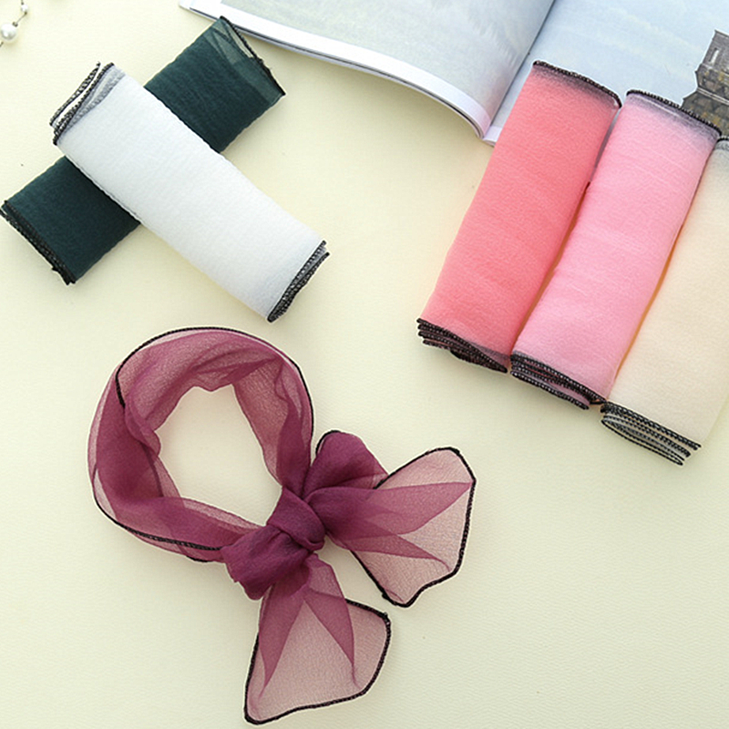 Fashion Women Thin Organza Scarf Narrow Long Neck Scarves Silk Candy Color Transparent Chiffon Headband Wavy Tie Hair Band