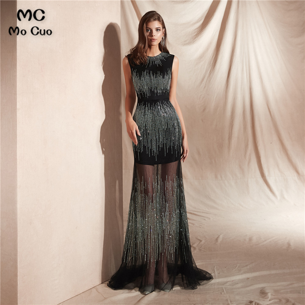 New Real Mermaid Prom Dresses With Beaded Tulle Sweep Train O-Neck Sleeveless Evening Gown Prom Dress Custom Made