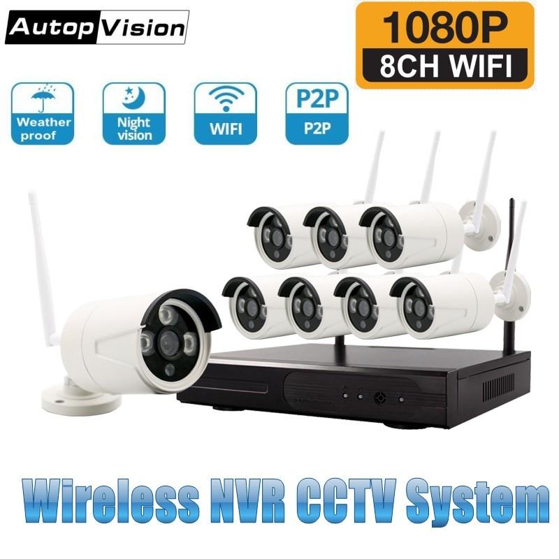 8CH 1080P HDMI WiFi NVR Kit 8PCS 2.0MP CCTV Wireless IP Camera IR Outdoor Weatherproof Security Surveillance System Kits