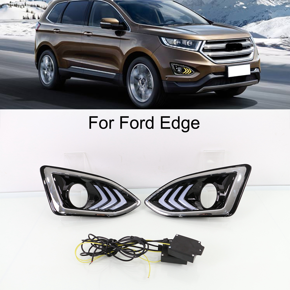 New Car LED DRL Daytime Running Lights Kit for Ford Edeg 2015 2016 with Turn Signal Light auto lamp extranel Light DRL LED 12V 4in1 daytime running light 12v 12w led car emergency strobe lights drl wireless remote control kit car accessories universal