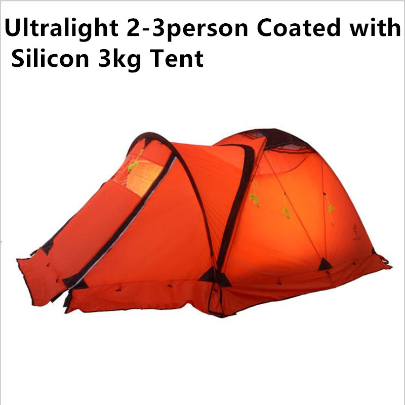 3KG Ultralight Camping Tent 2-3Person Coated with 20D Silicon Double Layers Aluminum Rod  Snow Mountain Keep Warm Tents 3kg ultralight camping tent 2 3person coated with 20d silicon double layers aluminum rod snow mountain keep warm tents