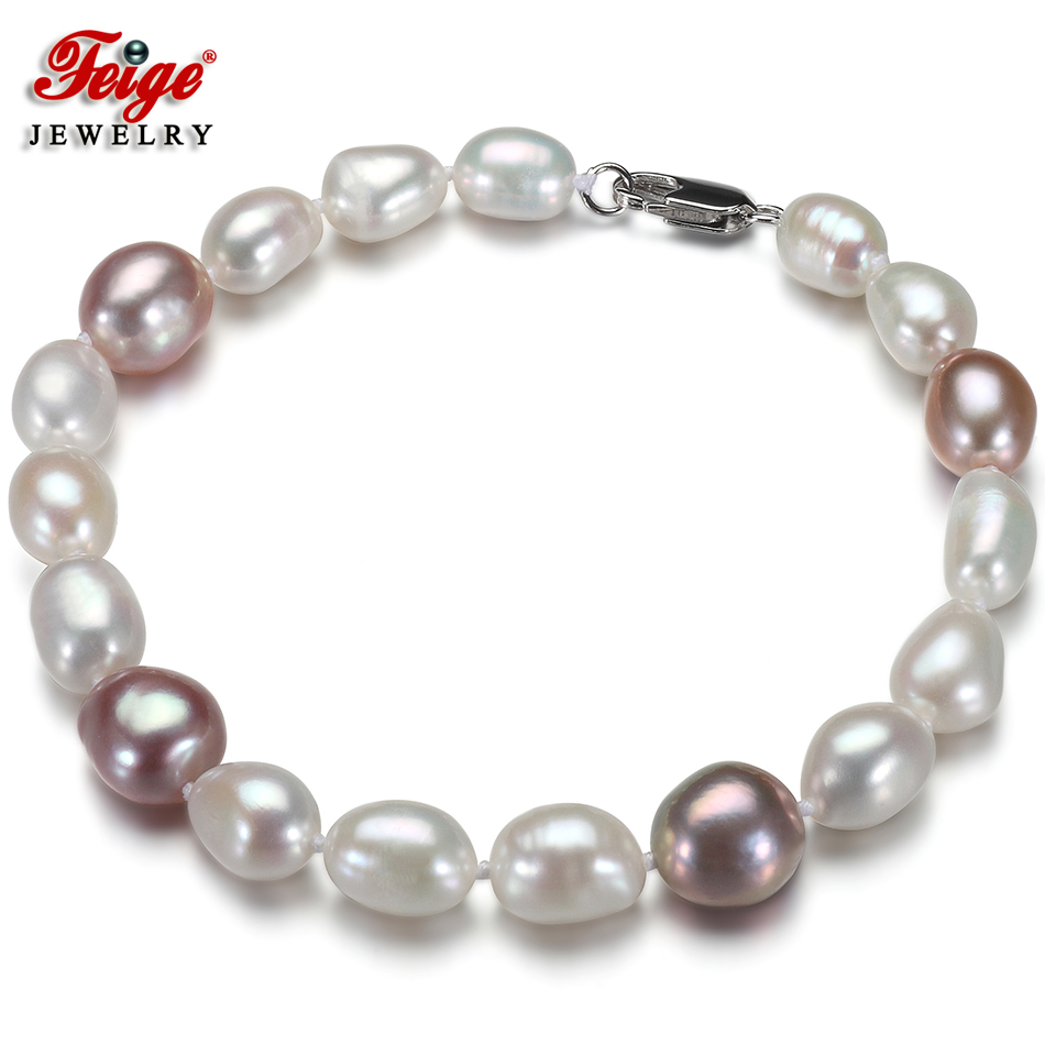 offer Baroque style White/Purple Pearl Strand Bracelets & Bangles for women Fine Pearl Jewelry Pulseras