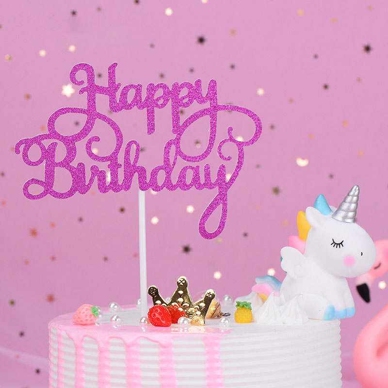 5pc Glitter Paper Happy Birthday Acrylic Cake Topper Numbe 21CupcakeTopper Party