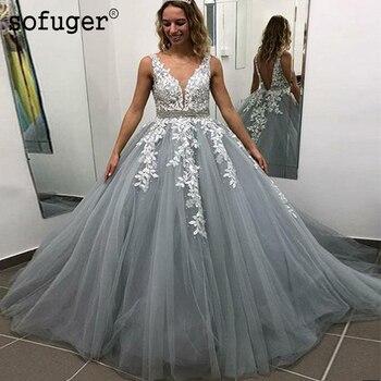 Grey Appliques Middle East Party Dress Sash V Neck Tulle Pleat Evening Dress Prom Robe De Soiree Vestidos De Fiesta De Noche