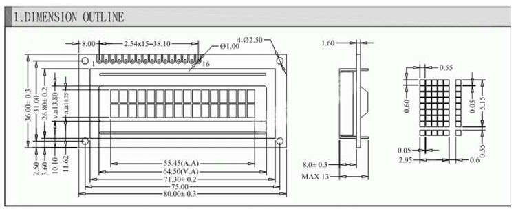 1602 Character 16x2 LCD Display Module Blue 5V white Character