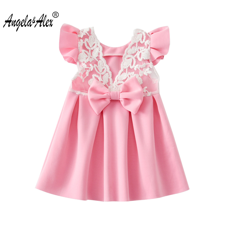 Φ_ΦAngela y Alex niñas vestido 2018 verano lindo Backless Lace ...