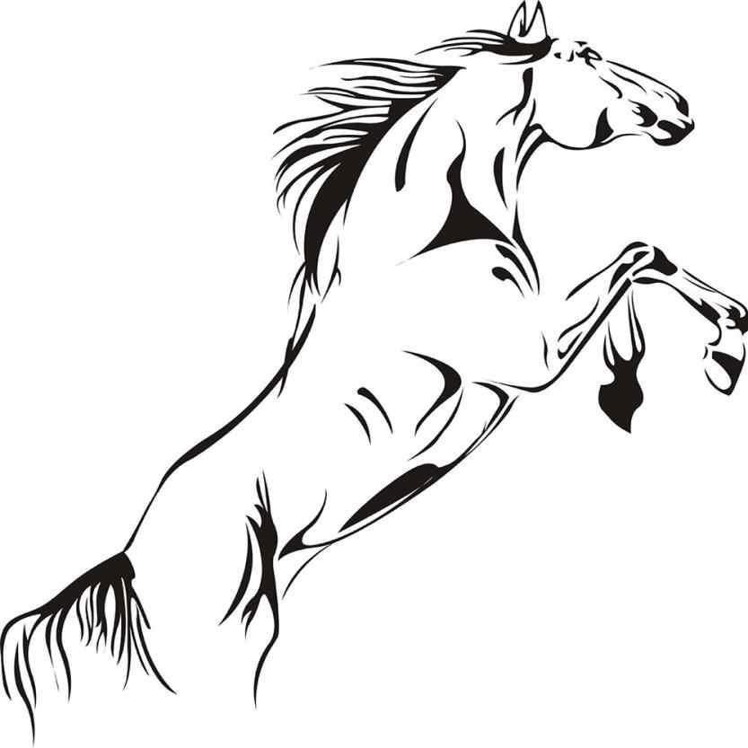 Autocollant Mural salon chambre fond nouveau noir cheval de course autocollant Mural amovible vinyle décalque Art Mural maison Apr9