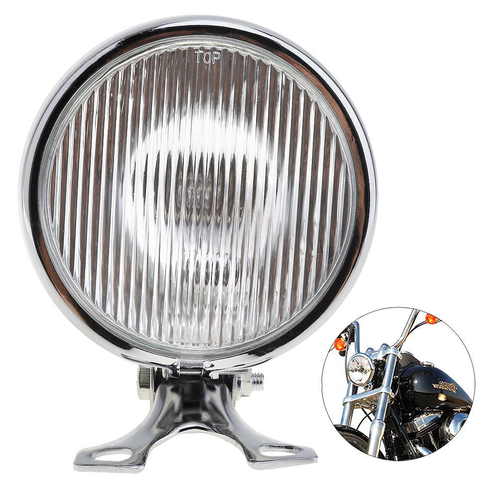Universal Retro Metal Motorcycle Headlight Round 5 Inch 35W 12V with Holder for Halley / Suzuki High Quality