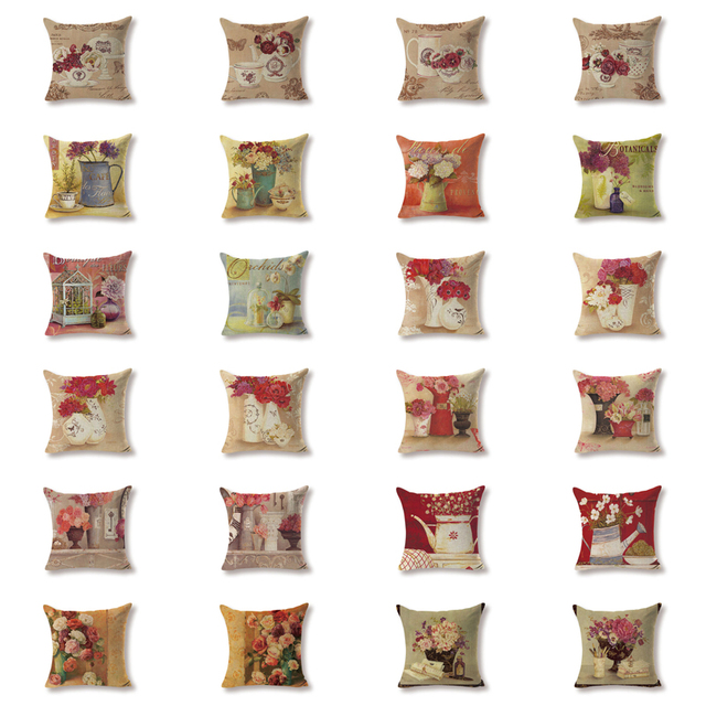 Designer Cushion Covers European Flower Ornaments Pillow Case ...