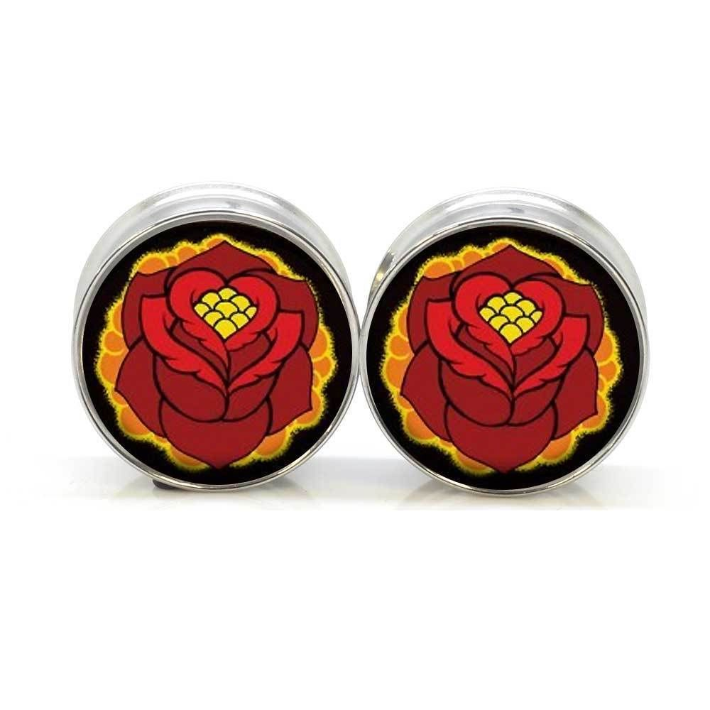 1 pair retro rose stainless steel night owl plug tunnels double flare ear plug gauges body piercing jewelry