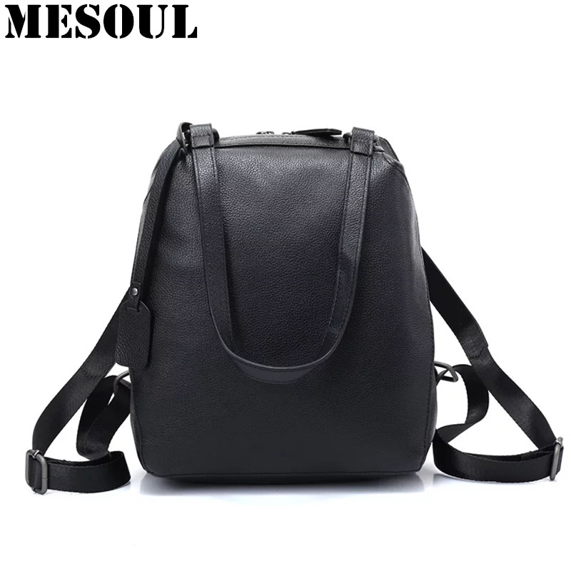 цены Designer Backpack Female Genuine Leather Bag Fashion Black High Quality School Bag Portable Travel Shoulder Backpacks For Women