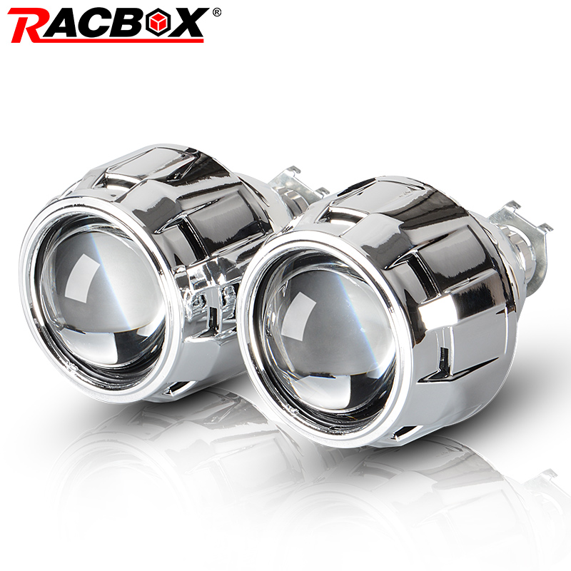 RACBOX 2Pcs 2.5 Inch Universal Bi xenon HID Projector Lens Silver Black Shroud H1 Xenon  ...