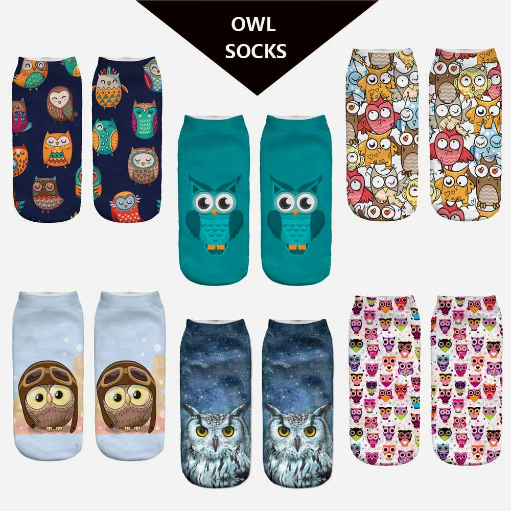 Ladies//Girls Grey With Small Brown Owls Cotton Ankle Socks