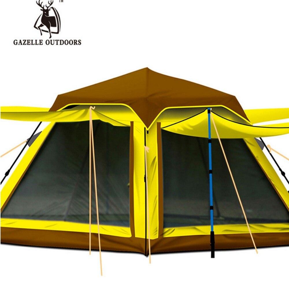 DHL Livraison Gratuite GAZELLE 3 4 Personne Pop Up Tente Automatique Multi portes Maille Pergola Pécher Système Camping Écran Solaire imperméable à l'eau ...