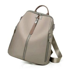 Image 2 - Kobiety podwójne plecaki z zamkiem błyskawicznym wielofunkcyjne Oxford tkaniny tornister plecaki dla dziewcząt kobieta plecak vintage torby na ramię A4
