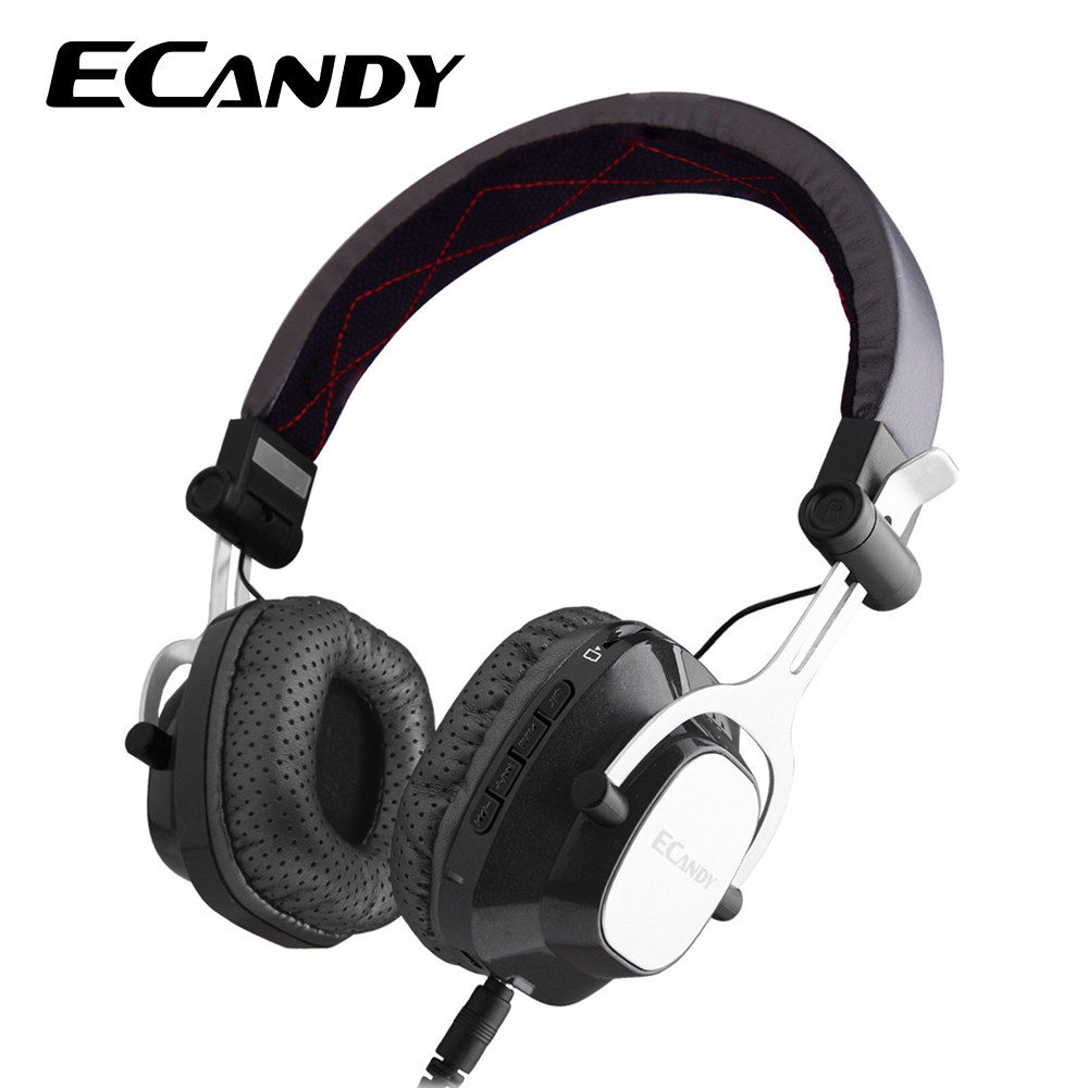 Ecandy Bluetooth Headphones Earphone Wireless Stereo Headsets with Mic Support TF Card FM Radio over the Ear for iPhone PC music desxz b570 wireless headphones bluetooth handsfree stereo folding over ear with mic lcd fm radio tf slot for iphone phone