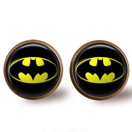 Hero Anime US Movie Batman Brass Stud Earrings Women 12mm/0.47inch men 1pair/lot earring drop ship Dr Who Jewelry The Arrow 2016
