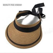 Summer New Style Straw Empty Top Hat Visor Bow Ribbon Sun Folding Travel Beach
