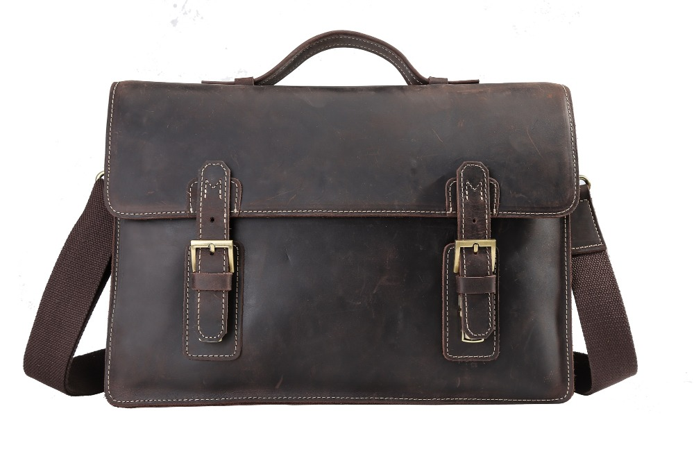 Men's Cow Leather Handbags 2017 New Business Man Vintage Dress Casual File Fashion Brand Briefcases Bags Real Leather Bags Male