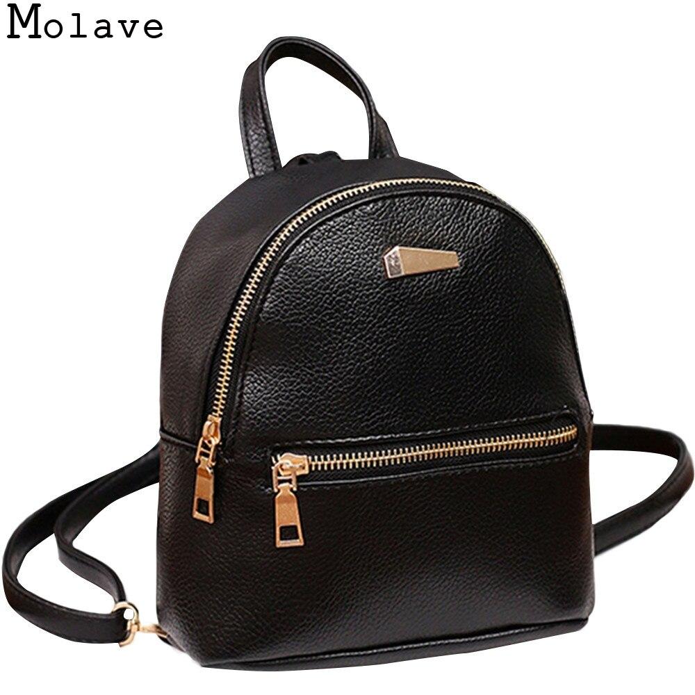 Molave Рюкзаки Дамские туфли из PU искусственной кожи рюкзак Колледж сумка для путешествий школьная сумка загнуть softback молнии рюкзак dec8