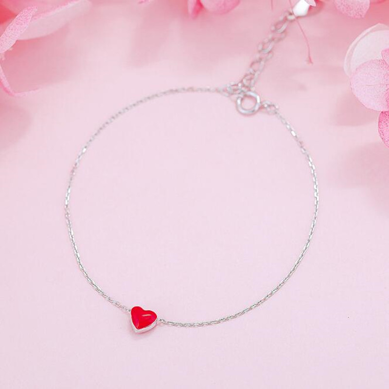 skb4 New Fashion Jewelry Beautiful 925 Sterling Silver Bracelets Love Red Heart Simple Personality Sweet Bracelets new s925 sterling silver bell red string rope bracelets lucky beads red thread bracelets
