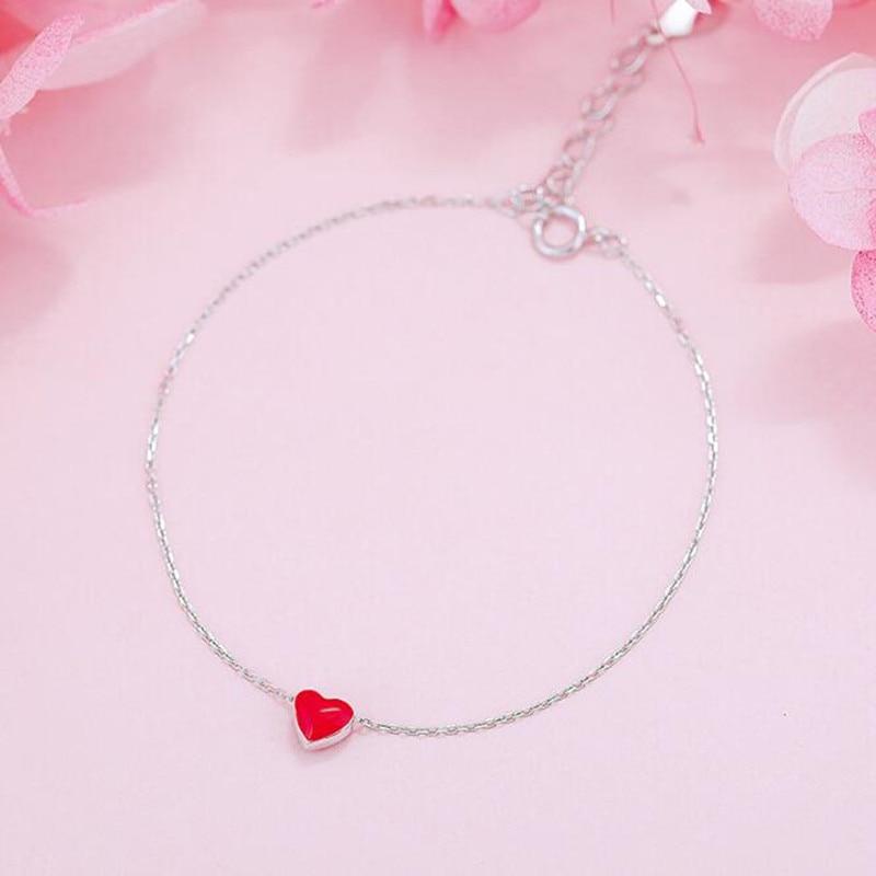 skb4 New Fashion Jewelry Beautiful 925 Sterling Silver Bracelets Love Red Heart Simple Personality Sweet Bracelets