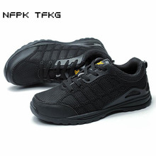 цены large size mens casual comfort steel toe caps work safety shoes building site worker dress black security boots protect footwear