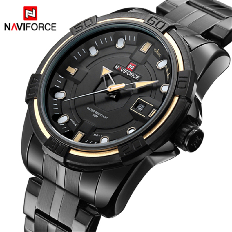 все цены на Hot Men Watch NAVIFORCE Luxury Brand Sport Quartz Wristwatches Stainless Steel Dive Watches Men Date Military Relogio Masculino онлайн