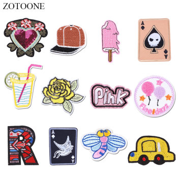 ZOTOONE Flower Car Hat Patches Letter Stickers Iron on Clothes Heat Transfer Applique Embroidered Applications Cloth Fabric G image