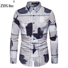 цена на ZYFG free hot men shirts long sleeve contrast printing shirt casual simple wind turn-down collar fashion Plus size male bloouse