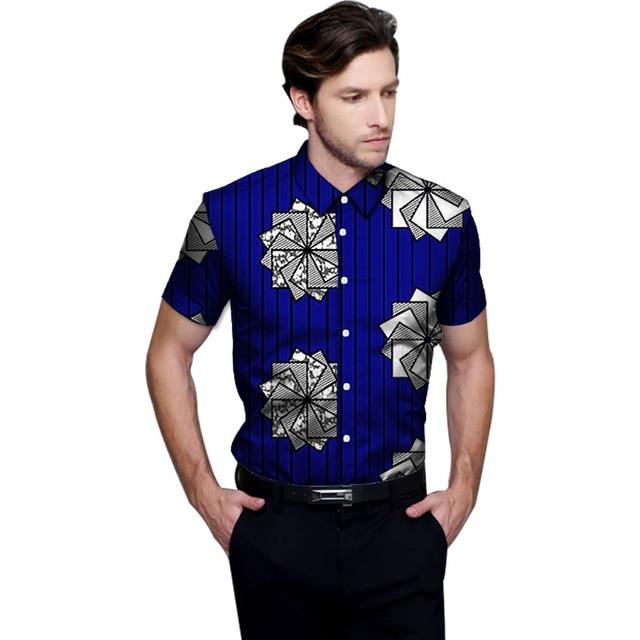 3d37ef7a183 Африканская мода печати Мужская dashiki рубашки в африканском стиле наряды  с коротким рукавом Повседневная рубашка изготовление