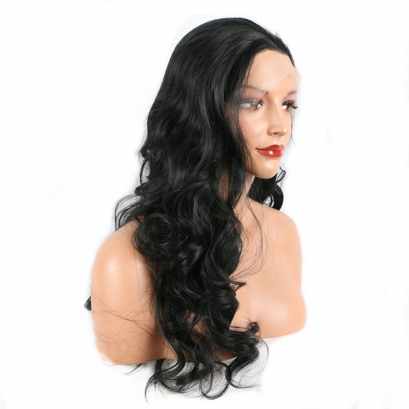 24 Long Wavy Pervado Hair Synthetic Lace Front Hair Wigs High Temperature Fiber Black Color Natural