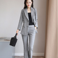 Business Women Pants Suit Winter Formal Plaid Long Sleeve Slim Blazer And Pants Office Lady Work