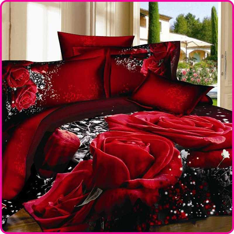 Reactive Printed 3D Bed Set 3D Bedding Set Linen sot Queen King Size Bedclothes Duvet Cover Set Red Black Rose Coverlet