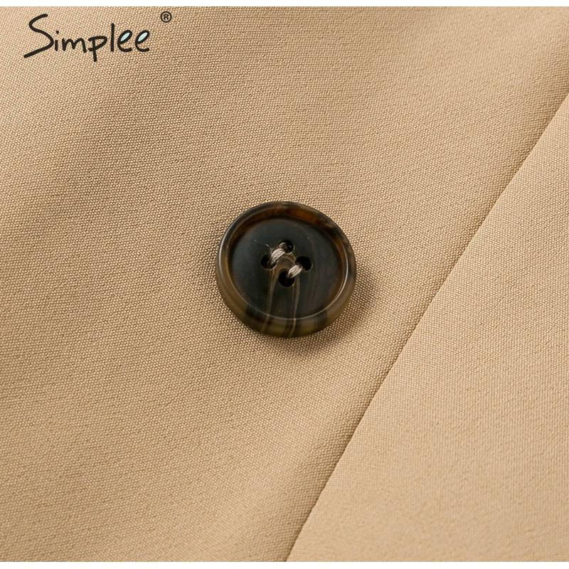 Simplee Patchwork puff sleeve shirt dress women Elegant button sash belt office ladies dresses Autumn ladies khaki work dress 17