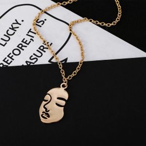 New Face Abstract Personality Pendant Nacklace For Women Gold Silver Color Hollow Face Charm Female Necklaces Hot Selling(China)