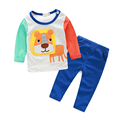 long sleeve baby boy clothes cute lion printed t-shirt+ pants fashion baby born newborn boys clothes