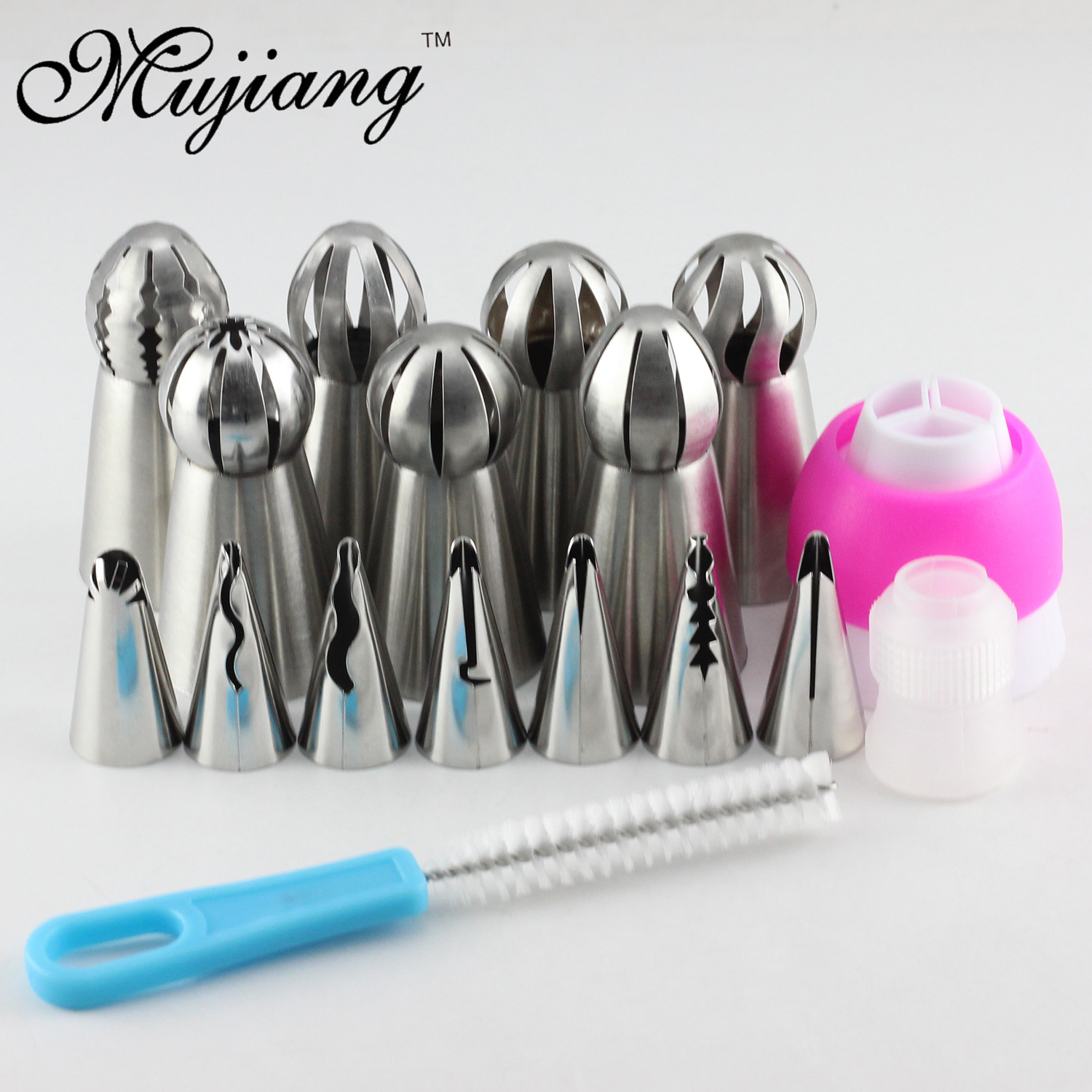 Mujiang 17Pcs Russian Spherical Ball Icing Piping Nozzles Korean Style Pastry Tips Stainless Steel Cake Dessert Decorating Tools