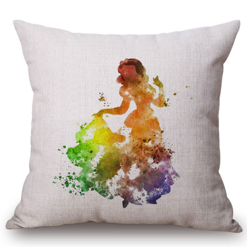 Watercolor Princess Baby Girl Decorative Sofa Throw Pillows Simple Baby Girl Decorative Pillows