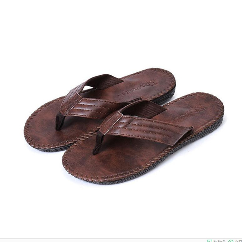Ipomoea Brand Men Slippers 2019 PU Leather Beach Flip Flops Slip On Male Summer Flat Shoes Non-slip Mens Indoor Outdoor Sandals